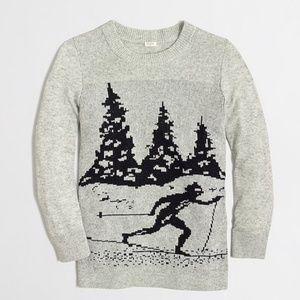 J. Crew Intarsia Heather Gray Skier Wool Sweater